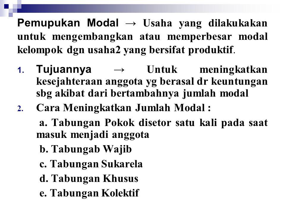 Pemupukan Modal → Usaha yang dilakukakan untuk mengembangkan atau memperbesar modal kelompok dgn usaha2 yang bersifat produktif.
