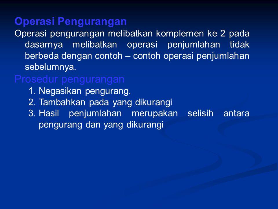 Operasi Pengurangan Prosedur pengurangan