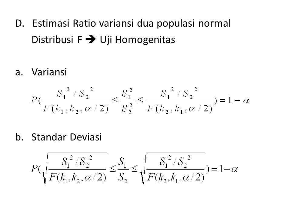 D. Estimasi Ratio variansi dua populasi normal
