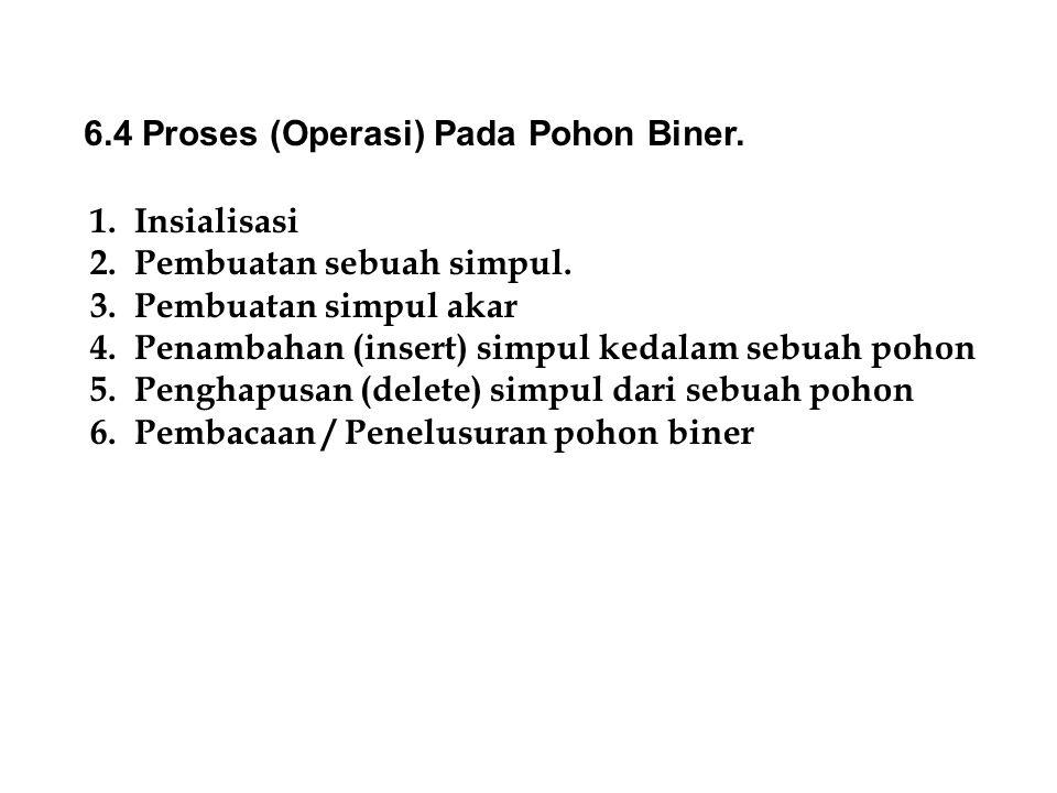 6.4 Proses (Operasi) Pada Pohon Biner.