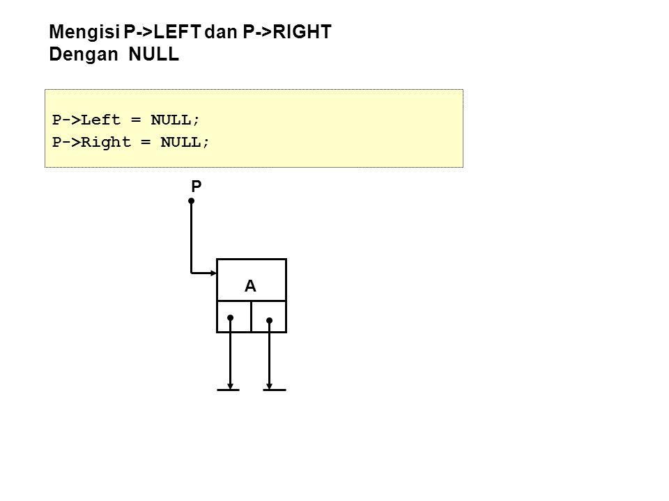 Mengisi P->LEFT dan P->RIGHT Dengan NULL