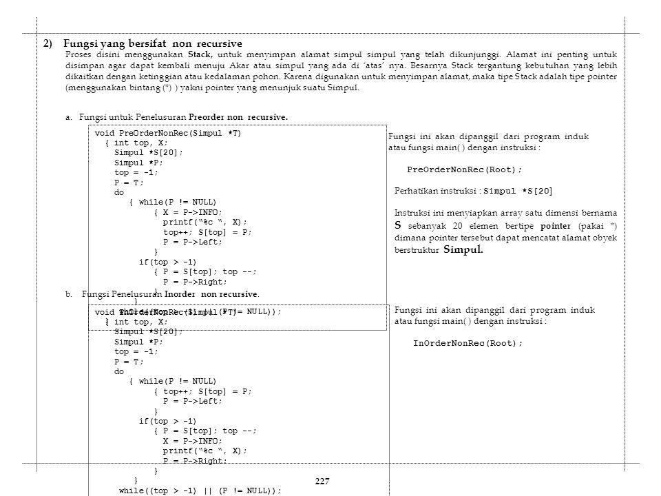 2) Fungsi yang bersifat non recursive