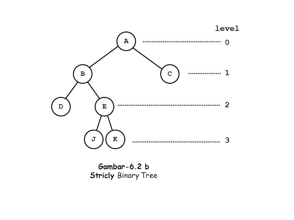 level A 1 2 3 B C D E J K Gambar-6.2 b Stricly Binary Tree