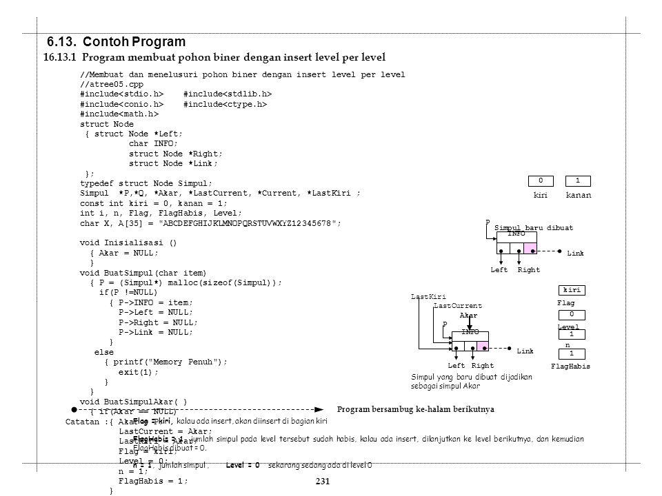 6.13. Contoh Program 16.13.1 Program membuat pohon biner dengan insert level per level.