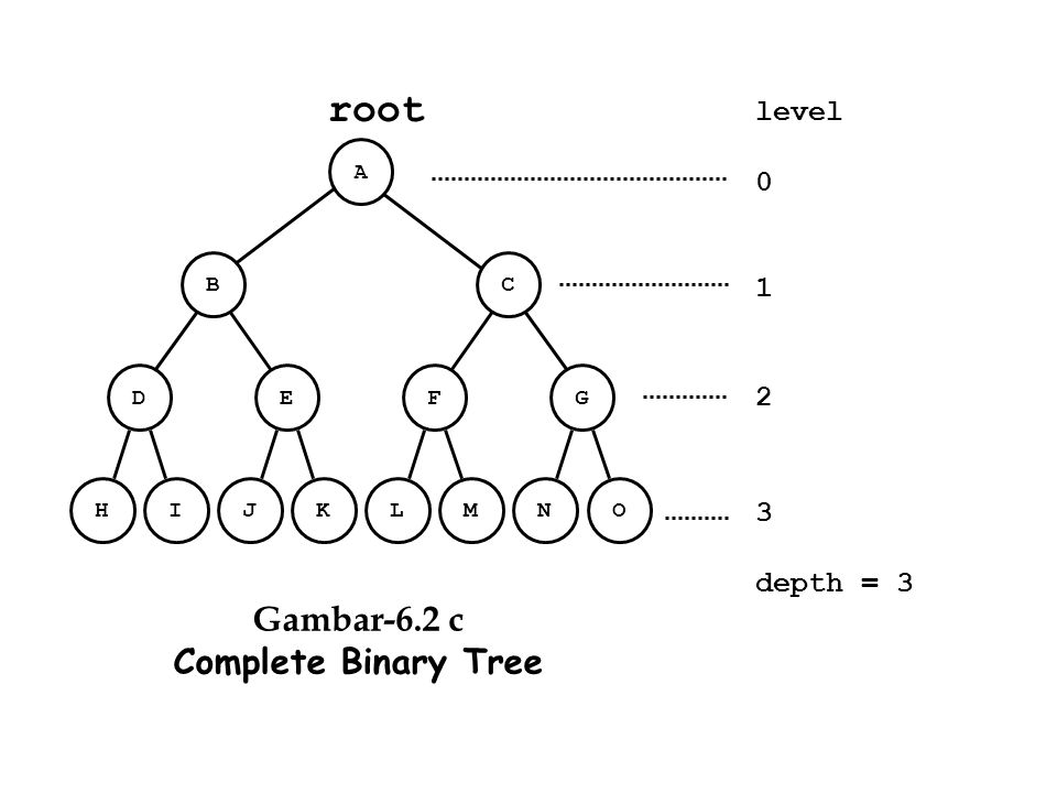 root Gambar-6.2 c Complete Binary Tree level 1 2 3 depth = 3 A B C D E