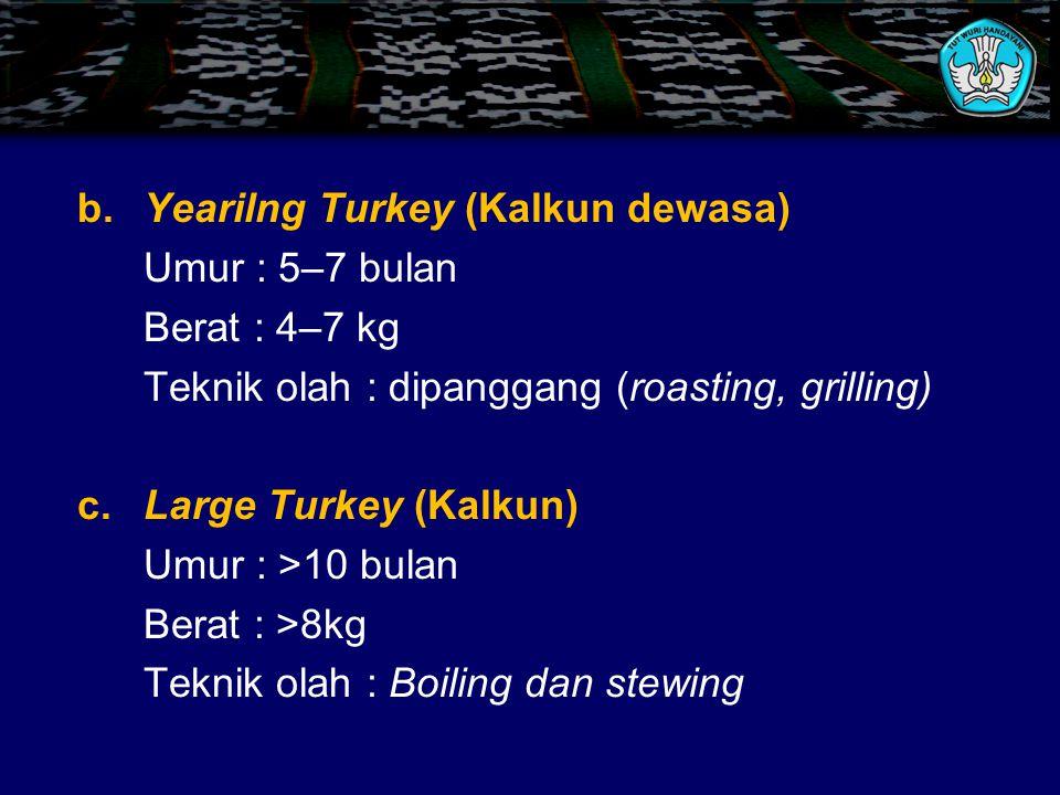Teknik olah : dipanggang (roasting, grilling) c. Large Turkey (Kalkun)