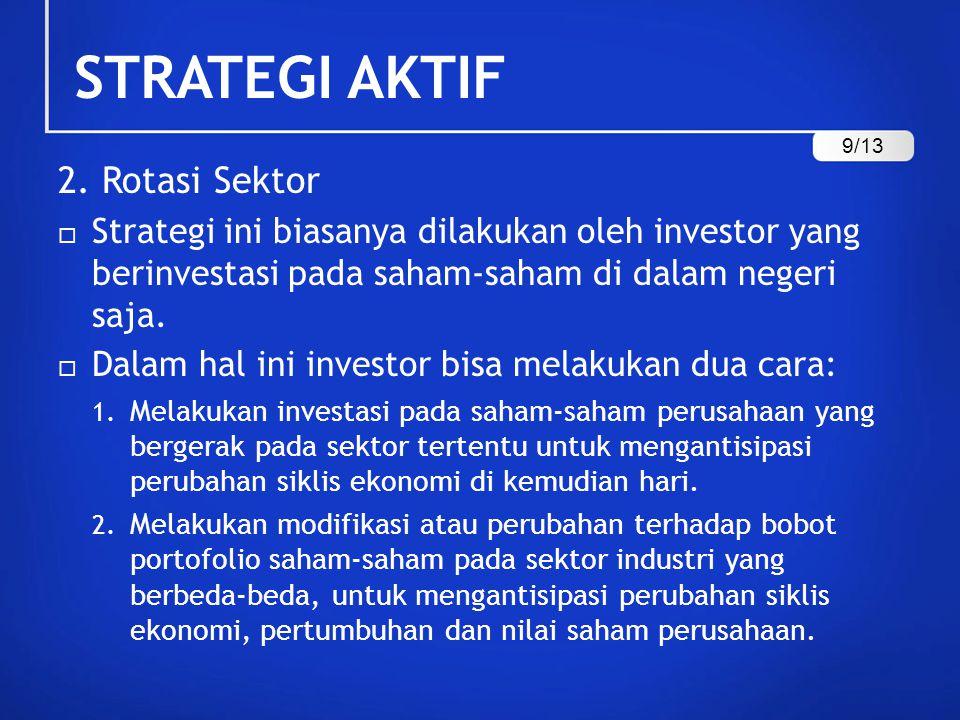 STRATEGI AKTIF 2. Rotasi Sektor