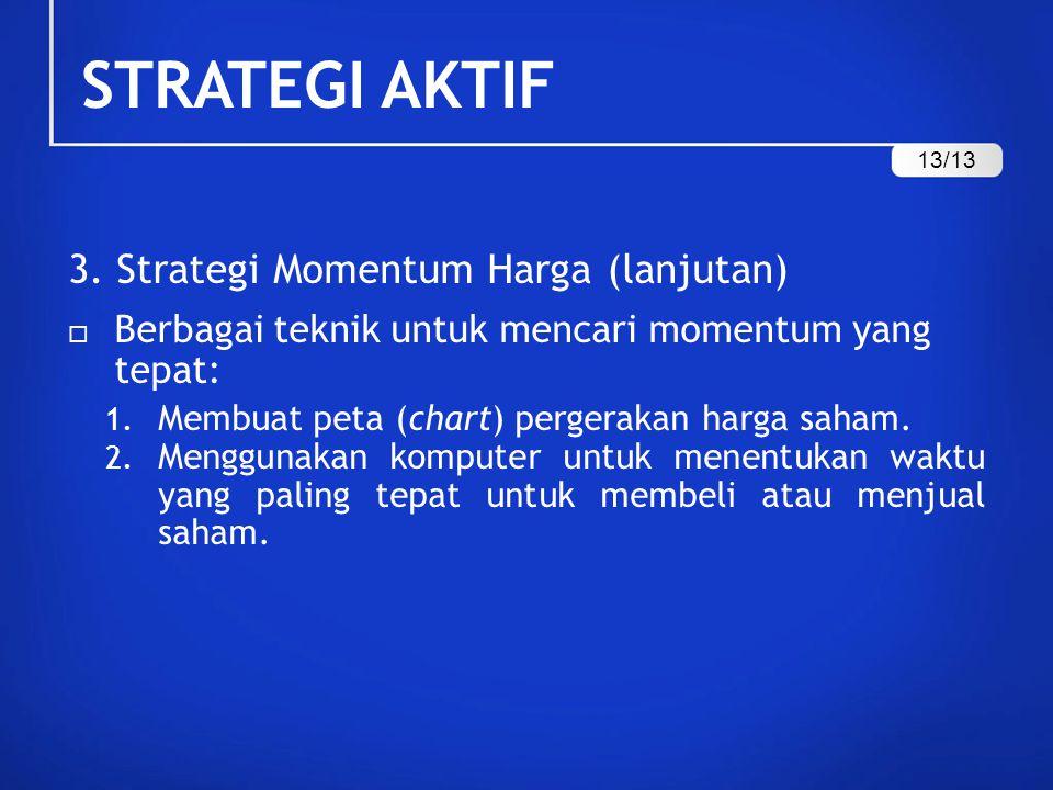 STRATEGI AKTIF 3. Strategi Momentum Harga (lanjutan)