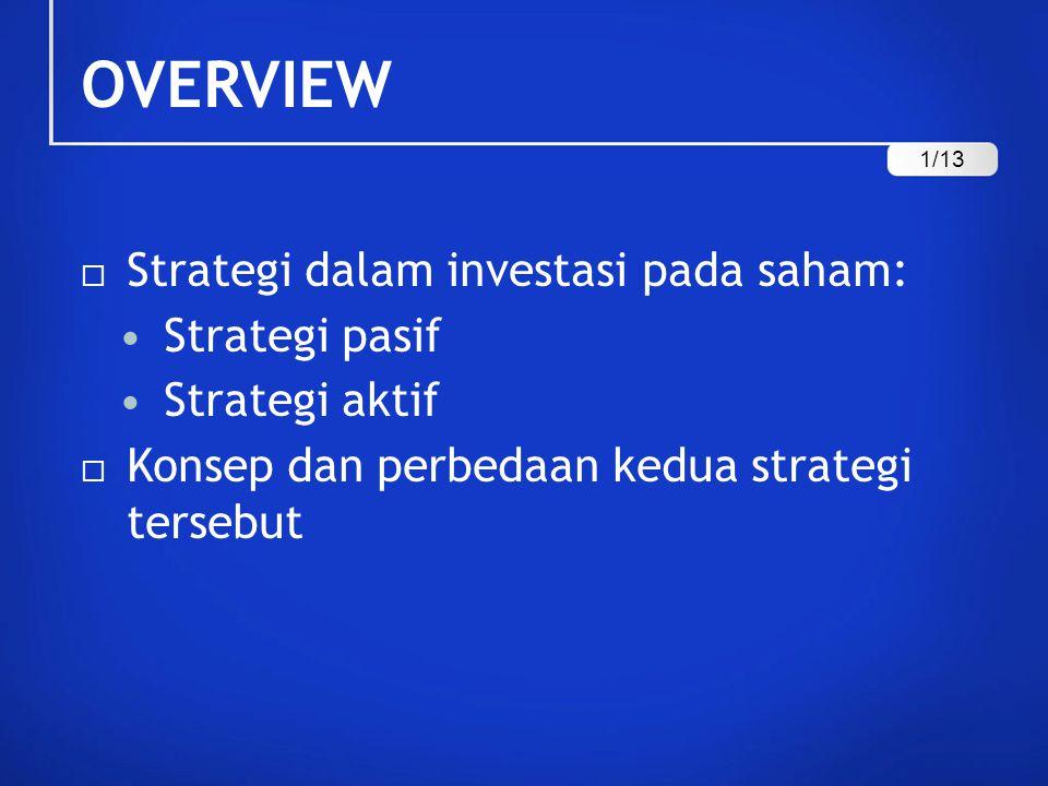 OVERVIEW Strategi dalam investasi pada saham: Strategi pasif