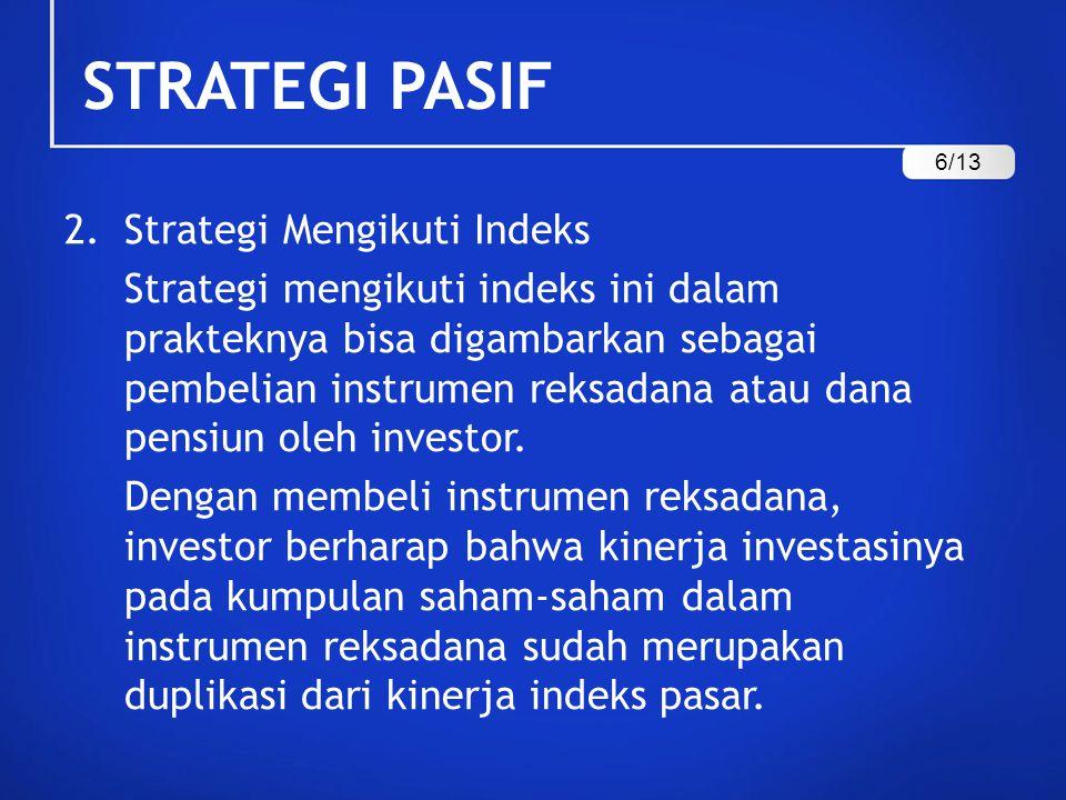 STRATEGI PASIF Strategi Mengikuti Indeks