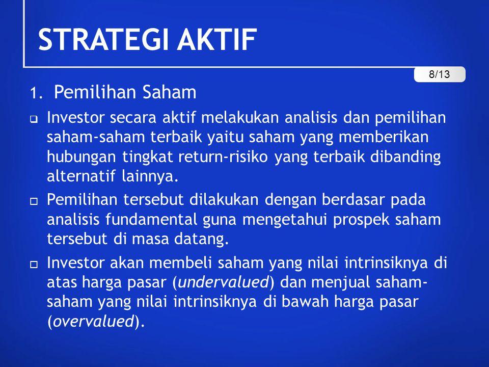 STRATEGI AKTIF 1. Pemilihan Saham