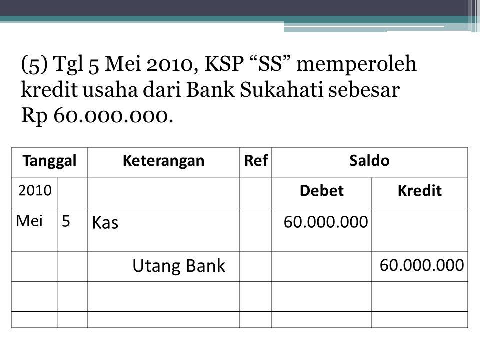 (5) Tgl 5 Mei 2010, KSP SS memperoleh kredit usaha dari Bank Sukahati sebesar