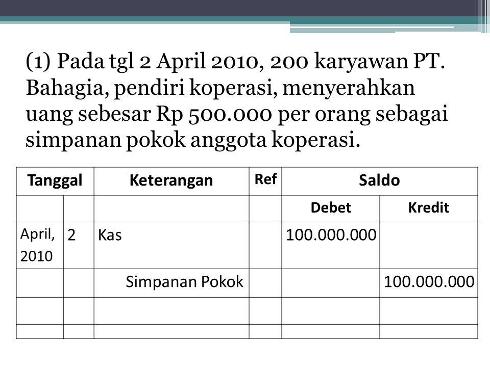 (1) Pada tgl 2 April 2010, 200 karyawan PT