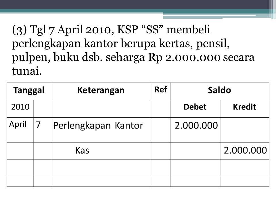 (3) Tgl 7 April 2010, KSP SS membeli perlengkapan kantor berupa kertas, pensil, pulpen, buku dsb. seharga Rp 2.000.000 secara tunai.