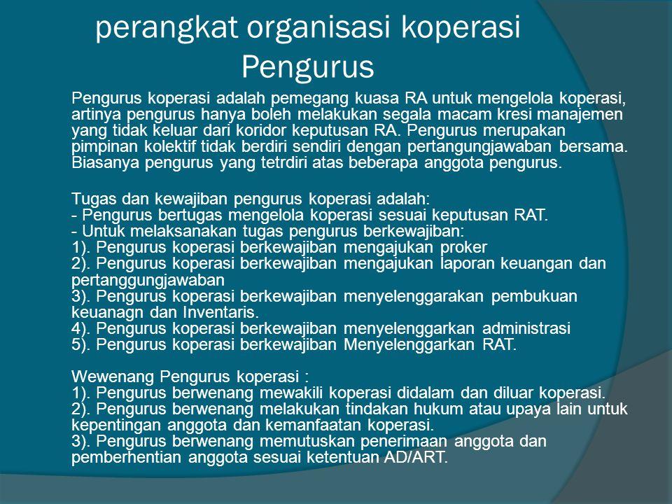 perangkat organisasi koperasi Pengurus