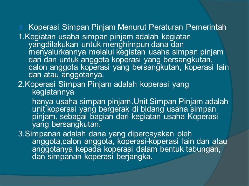 Koperasi Simpan Pinjam Menurut Peraturan Pemerintah