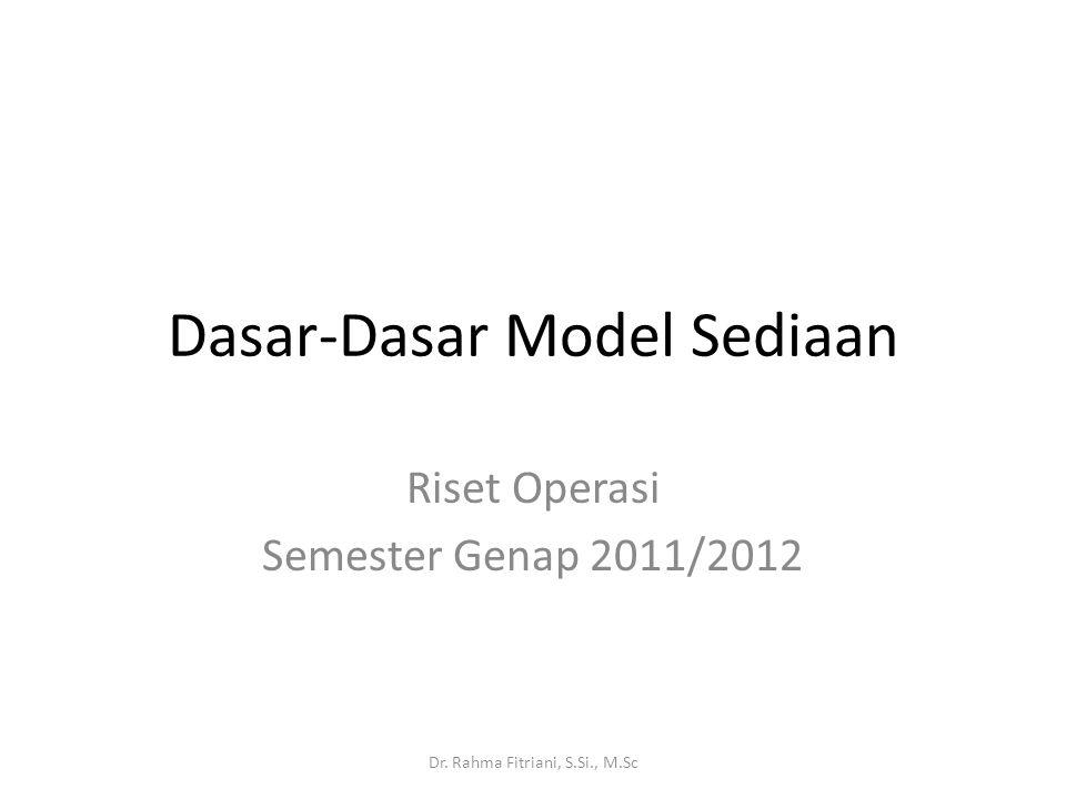 Dasar-Dasar Model Sediaan