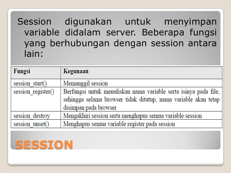 Session digunakan untuk menyimpan variable didalam server