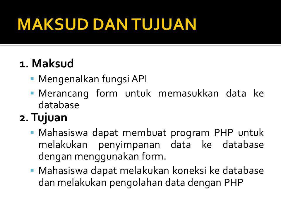 MAKSUD DAN TUJUAN 1. Maksud 2. Tujuan Mengenalkan fungsi API