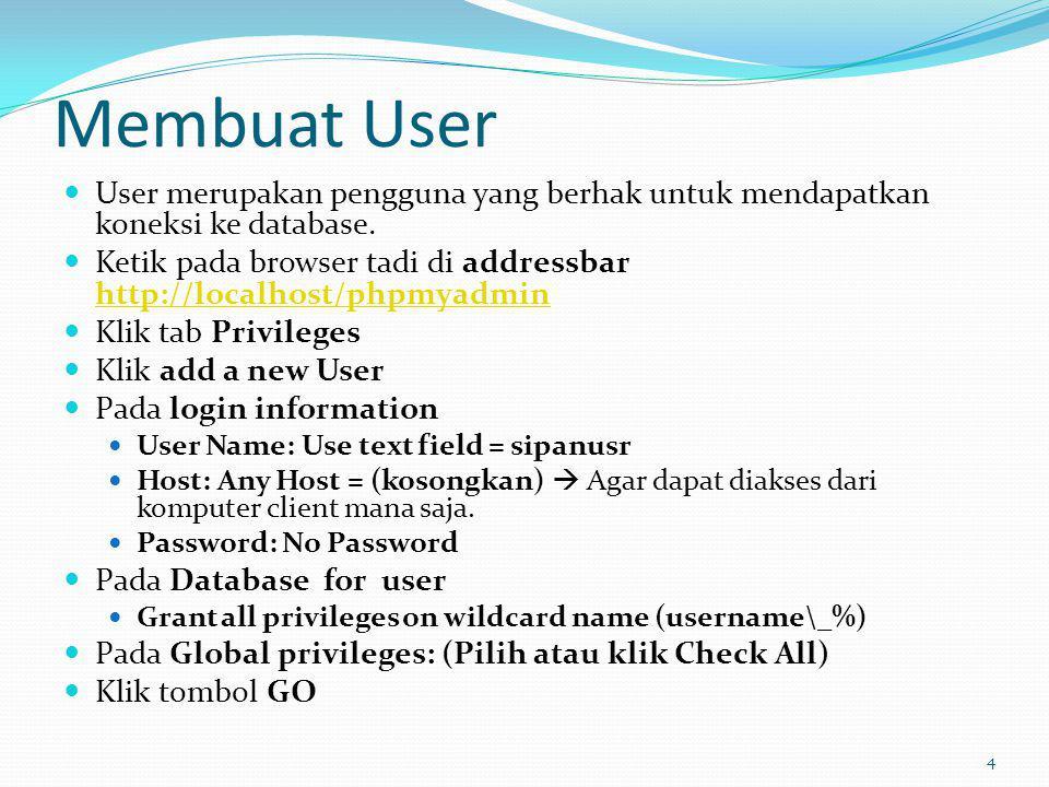 Membuat User User merupakan pengguna yang berhak untuk mendapatkan koneksi ke database.