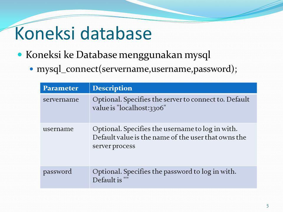 Koneksi database Koneksi ke Database menggunakan mysql