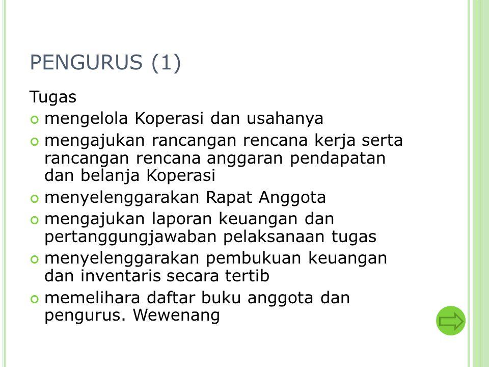 PENGURUS (1) Tugas mengelola Koperasi dan usahanya