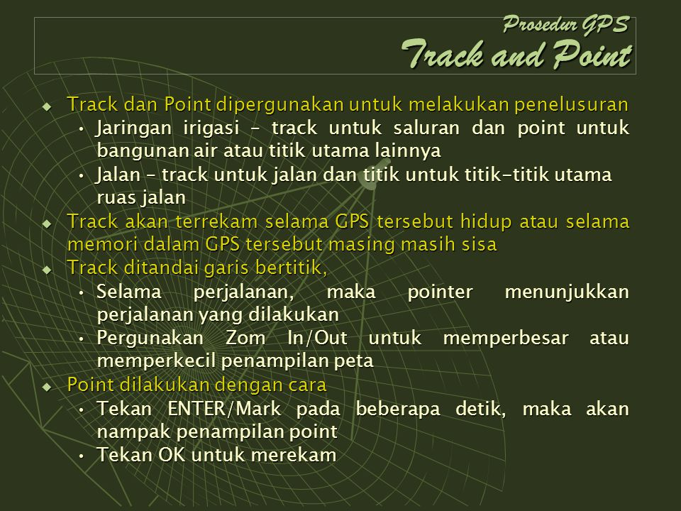 Prosedur GPS Track and Point