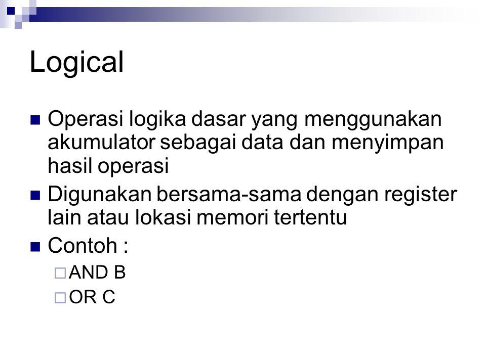 Logical Operasi logika dasar yang menggunakan akumulator sebagai data dan menyimpan hasil operasi.