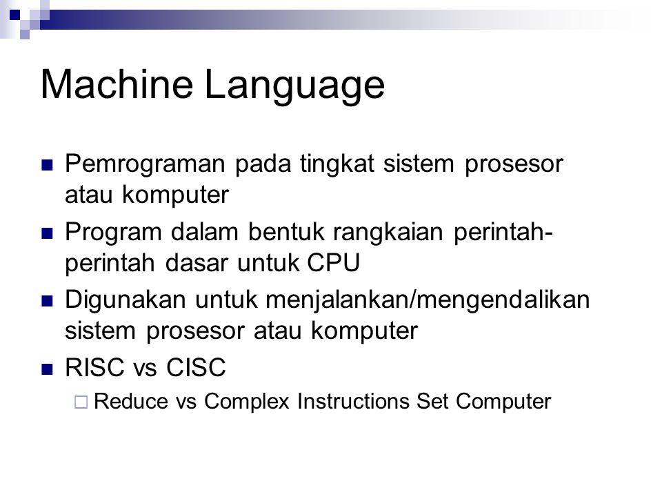 Machine Language Pemrograman pada tingkat sistem prosesor atau komputer. Program dalam bentuk rangkaian perintah-perintah dasar untuk CPU.