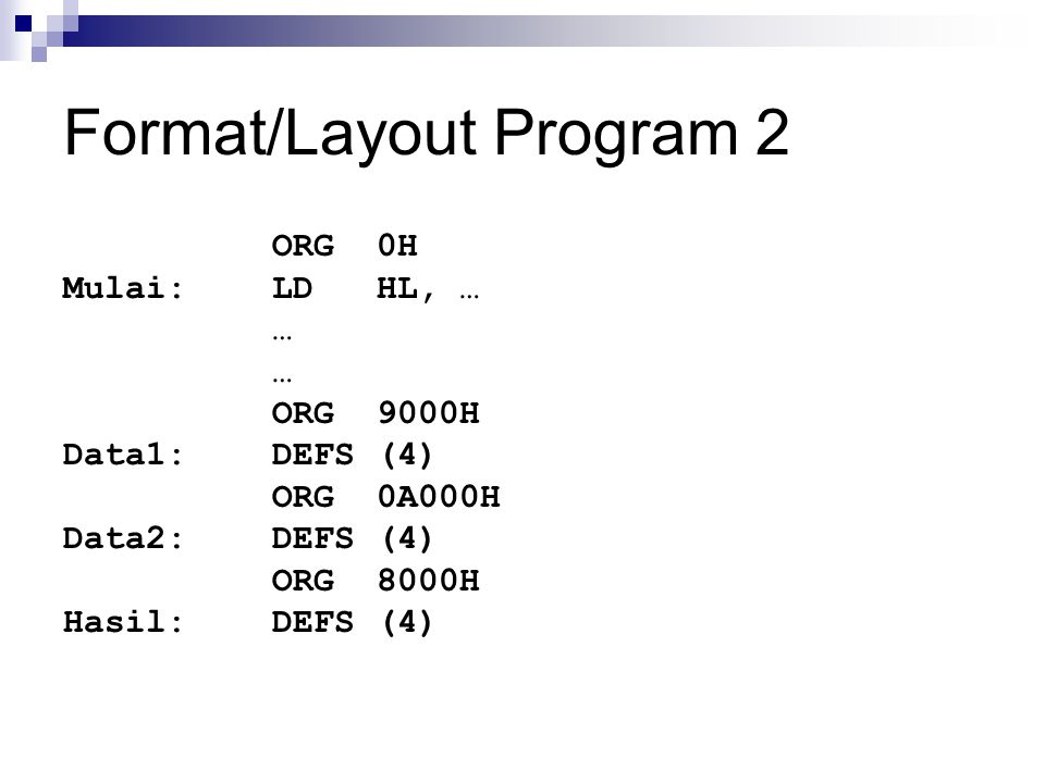 Format/Layout Program 2