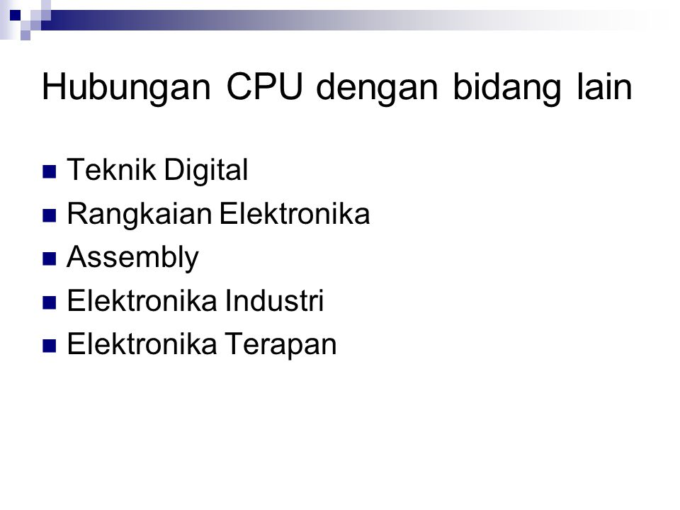 Hubungan CPU dengan bidang lain