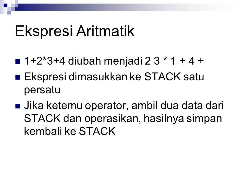 Ekspresi Aritmatik 1+2*3+4 diubah menjadi 2 3 * 1 + 4 +