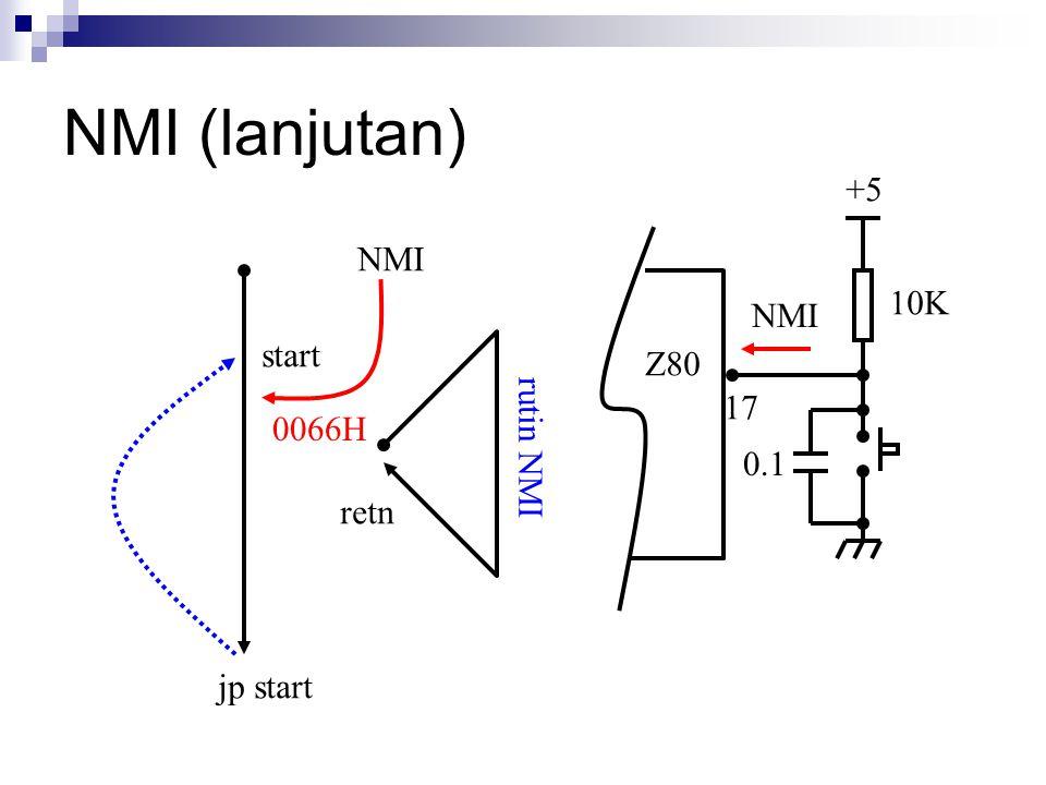 NMI (lanjutan) +5 NMI 10K NMI start Z80 17 rutin NMI 0066H 0.1 retn