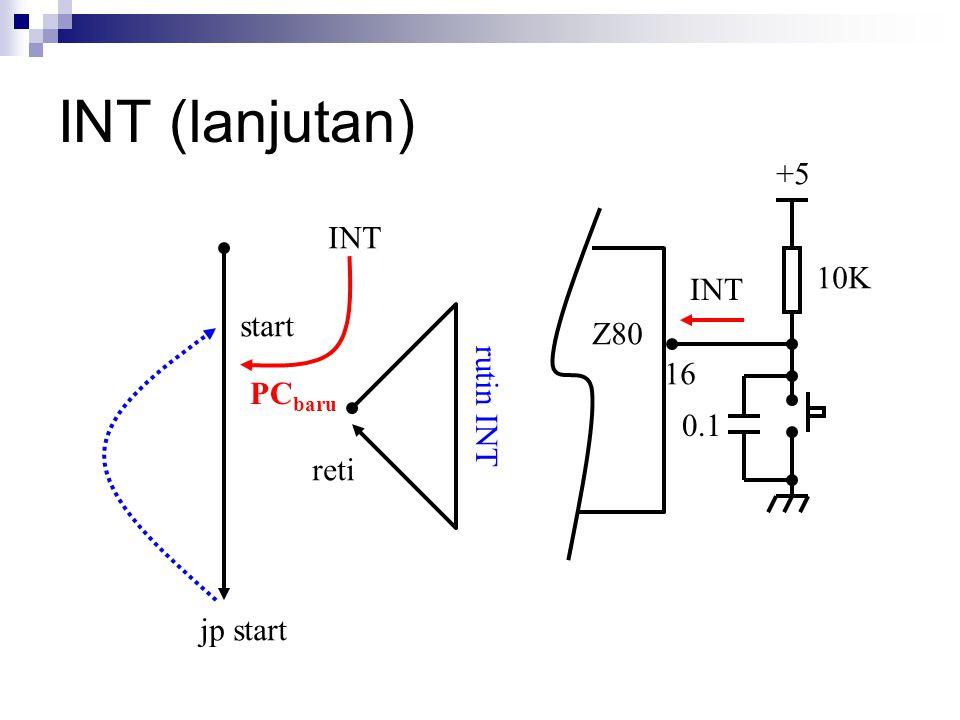 INT (lanjutan) +5 INT 10K INT start Z80 16 rutin INT PCbaru 0.1 reti