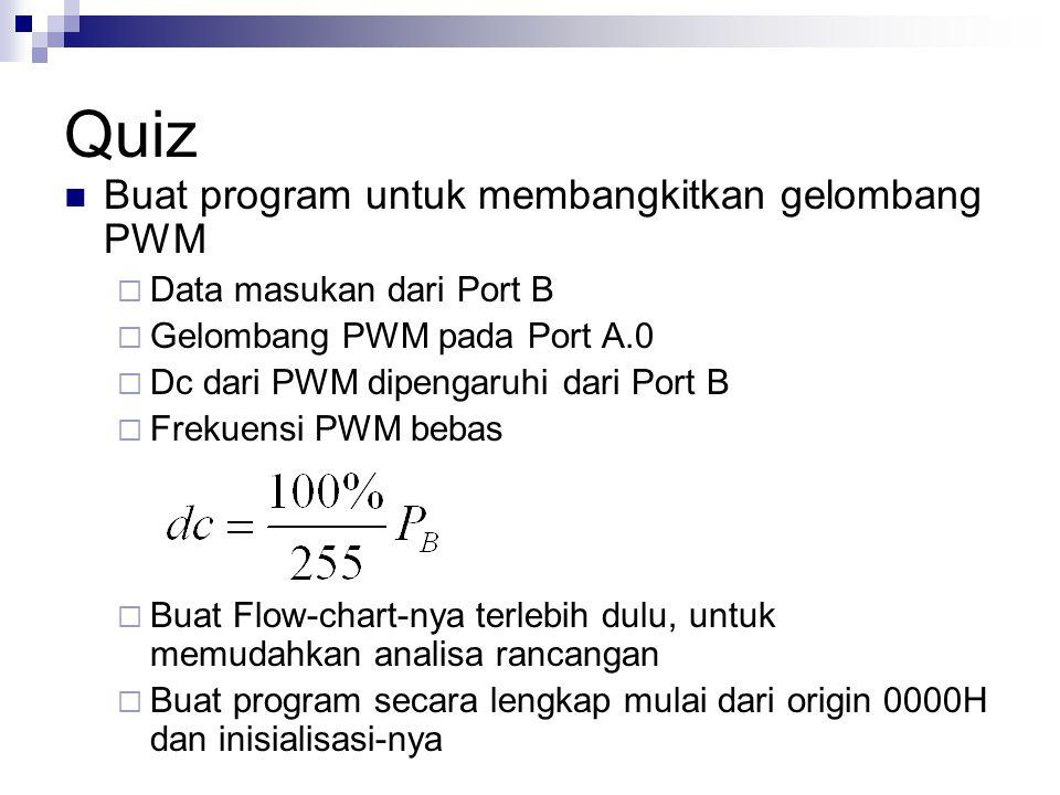 Quiz Buat program untuk membangkitkan gelombang PWM