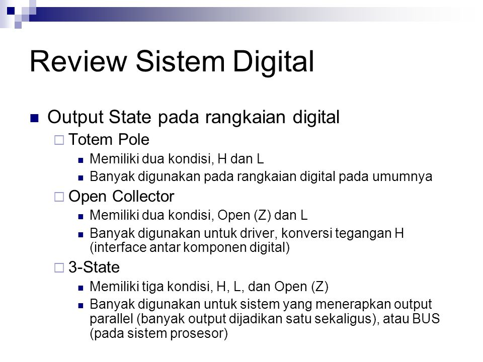 Review Sistem Digital Output State pada rangkaian digital Totem Pole