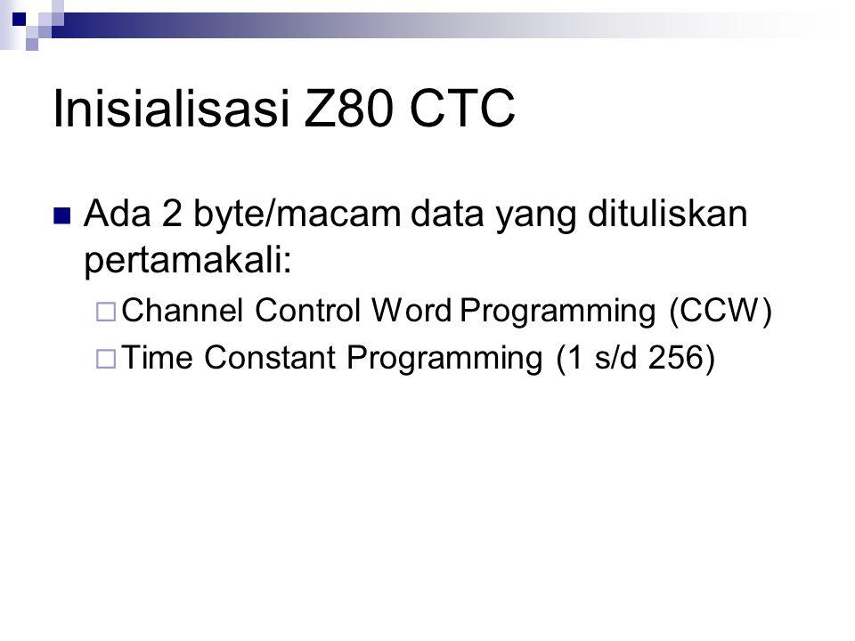 Inisialisasi Z80 CTC Ada 2 byte/macam data yang dituliskan pertamakali: Channel Control Word Programming (CCW)