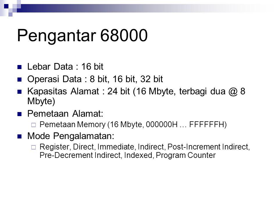 Pengantar 68000 Lebar Data : 16 bit