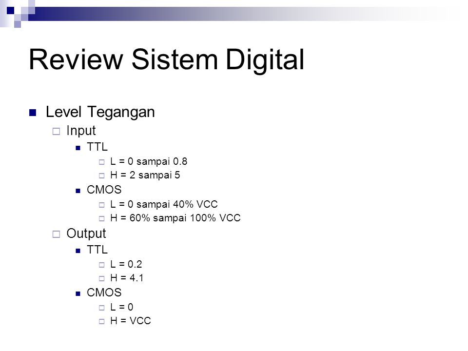 Review Sistem Digital Level Tegangan Input Output TTL CMOS