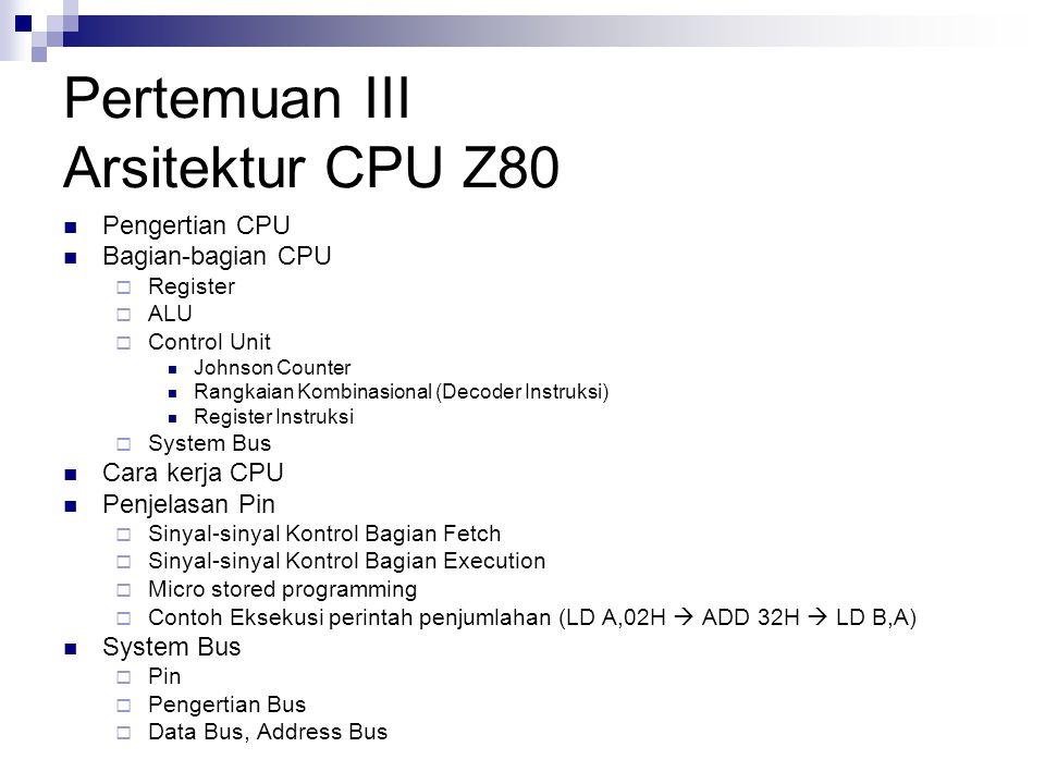 Pertemuan III Arsitektur CPU Z80