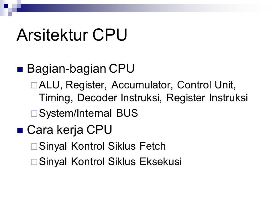 Arsitektur CPU Bagian-bagian CPU Cara kerja CPU