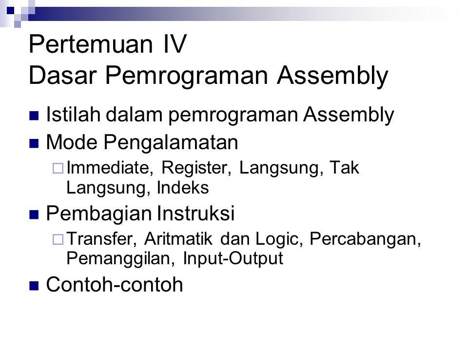 Pertemuan IV Dasar Pemrograman Assembly