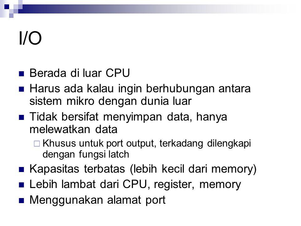 I/O Berada di luar CPU. Harus ada kalau ingin berhubungan antara sistem mikro dengan dunia luar.