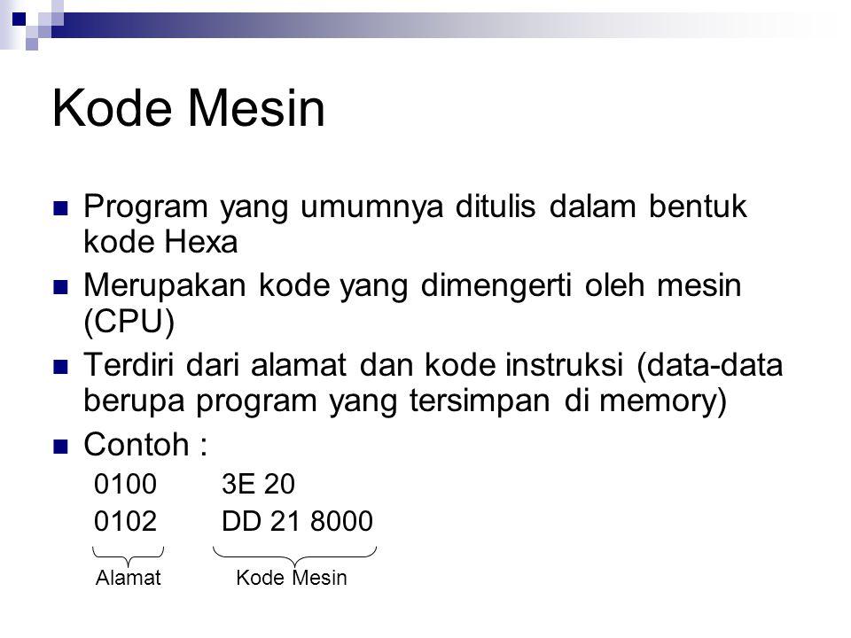 Kode Mesin Program yang umumnya ditulis dalam bentuk kode Hexa