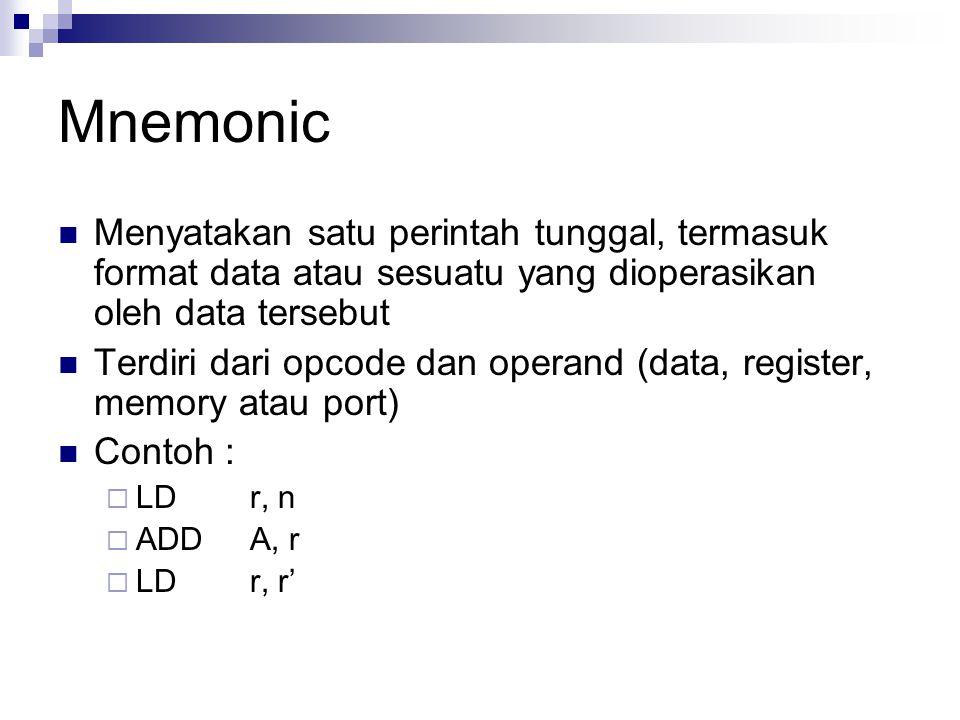 Mnemonic Menyatakan satu perintah tunggal, termasuk format data atau sesuatu yang dioperasikan oleh data tersebut.