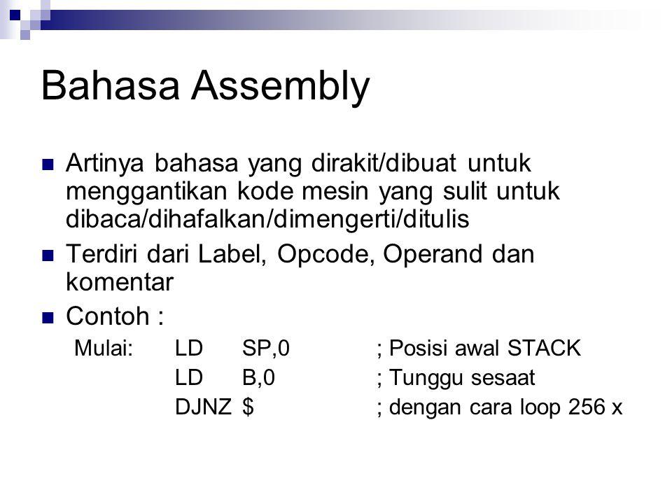 Bahasa Assembly Artinya bahasa yang dirakit/dibuat untuk menggantikan kode mesin yang sulit untuk dibaca/dihafalkan/dimengerti/ditulis.