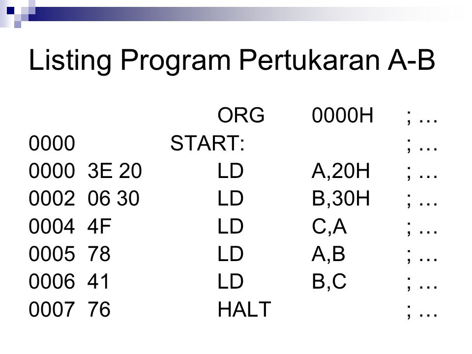 Listing Program Pertukaran A-B