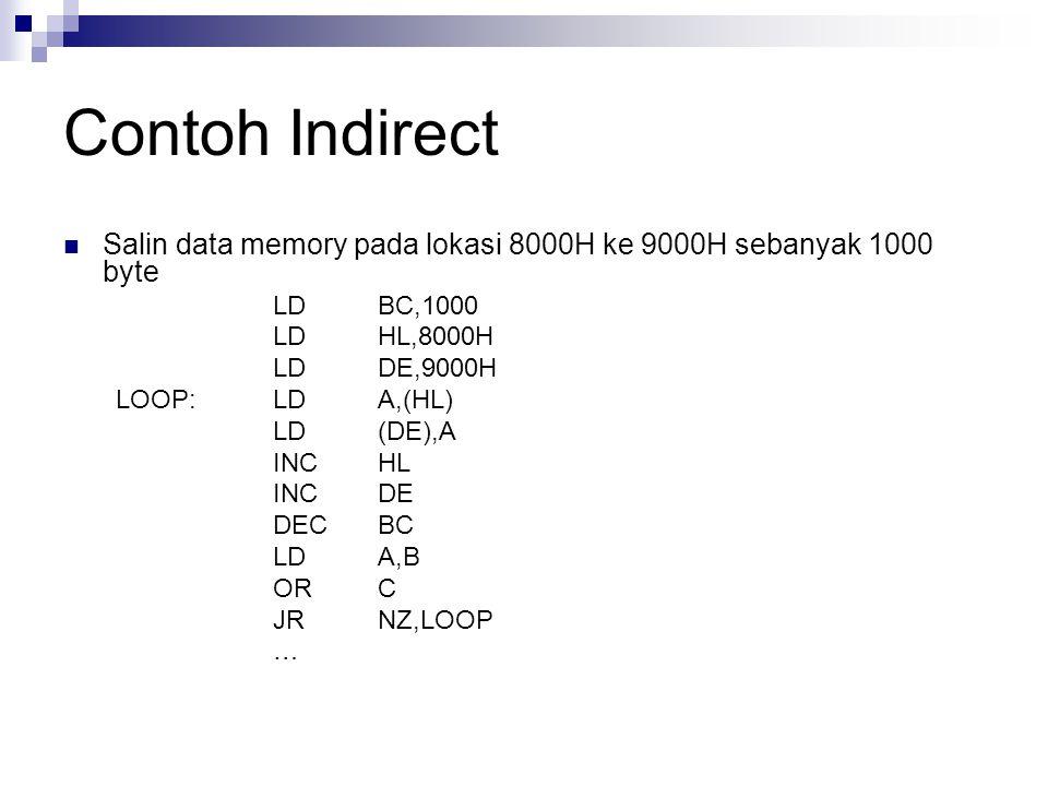 Contoh Indirect Salin data memory pada lokasi 8000H ke 9000H sebanyak 1000 byte. LD BC,1000. LD HL,8000H.