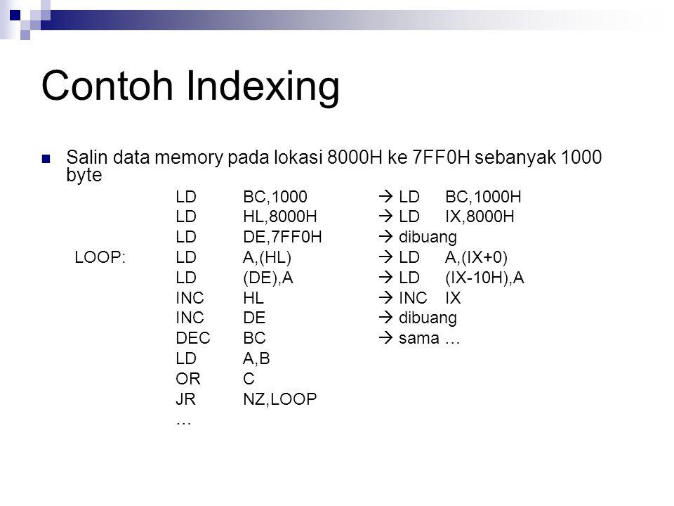 Contoh Indexing Salin data memory pada lokasi 8000H ke 7FF0H sebanyak 1000 byte. LD BC,1000  LD BC,1000H.