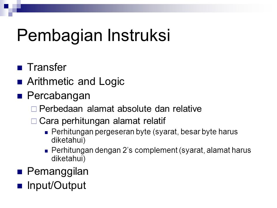 Pembagian Instruksi Transfer Arithmetic and Logic Percabangan